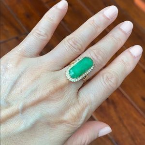 14K Solid Real Gold CZ Jade Women Ring Size 5.5